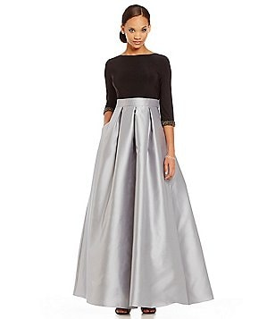 Ignite Evenings 3/4 Sleeve Bead-Cuff Two-Tone Ballgown