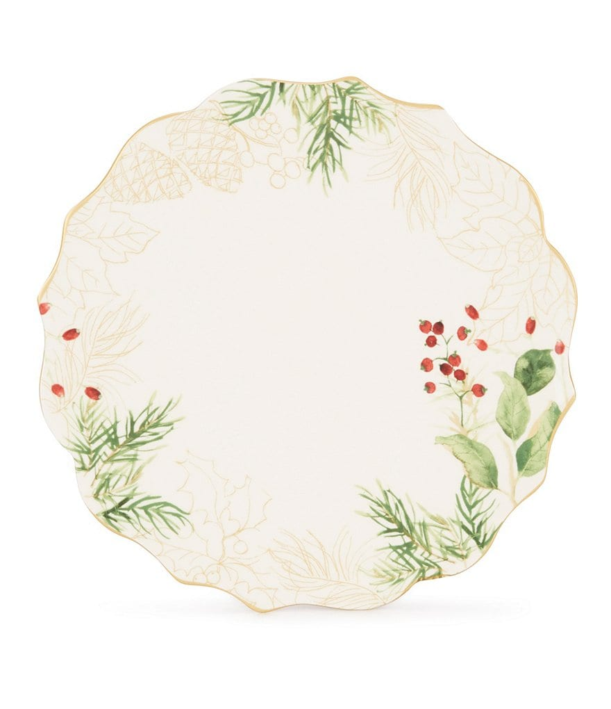 Southern Living Scalloped Holly Leaves Salad Plate