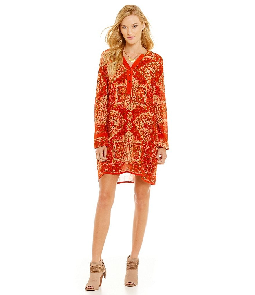 Chelsea & Violet Autumn Sunset Printed Long Sleeve V-Neck Shirt Dress