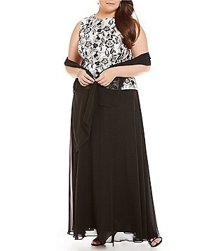 Alex Evenings Plus Embroidered Long Mock Dress