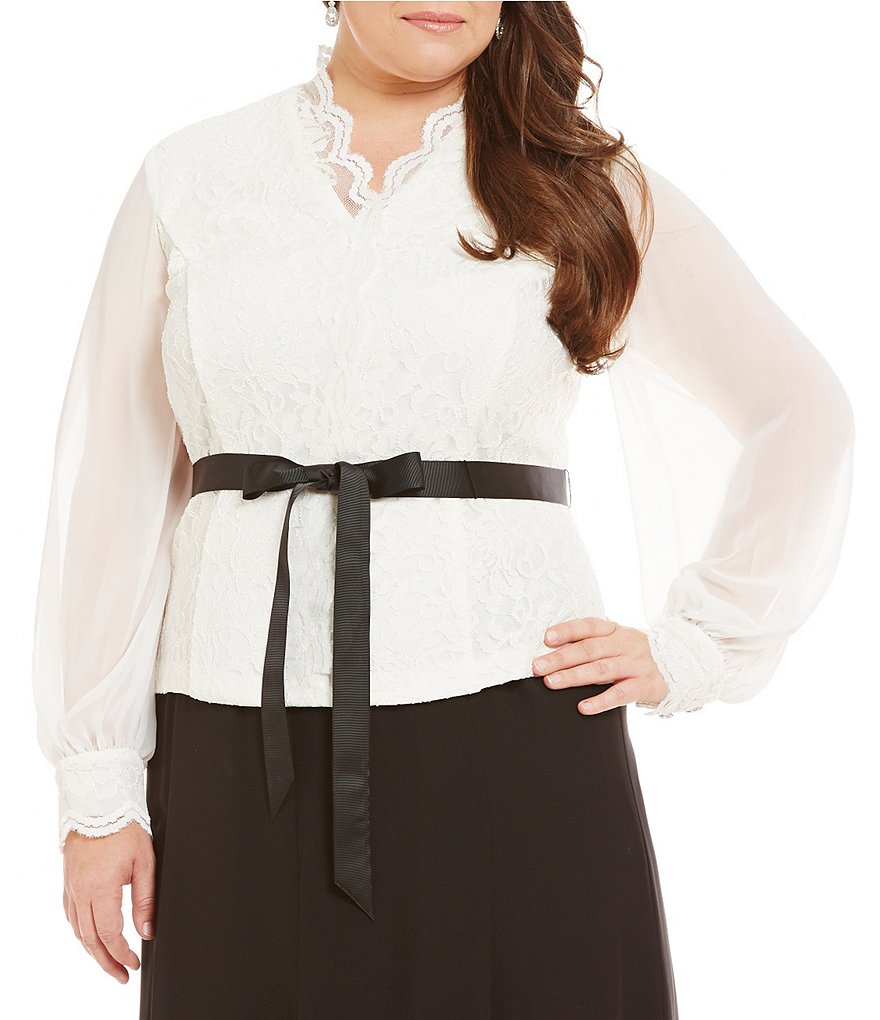 Alex Evenings Plus Chiffon Sleeve Lace Cuff Scalloped Blouse