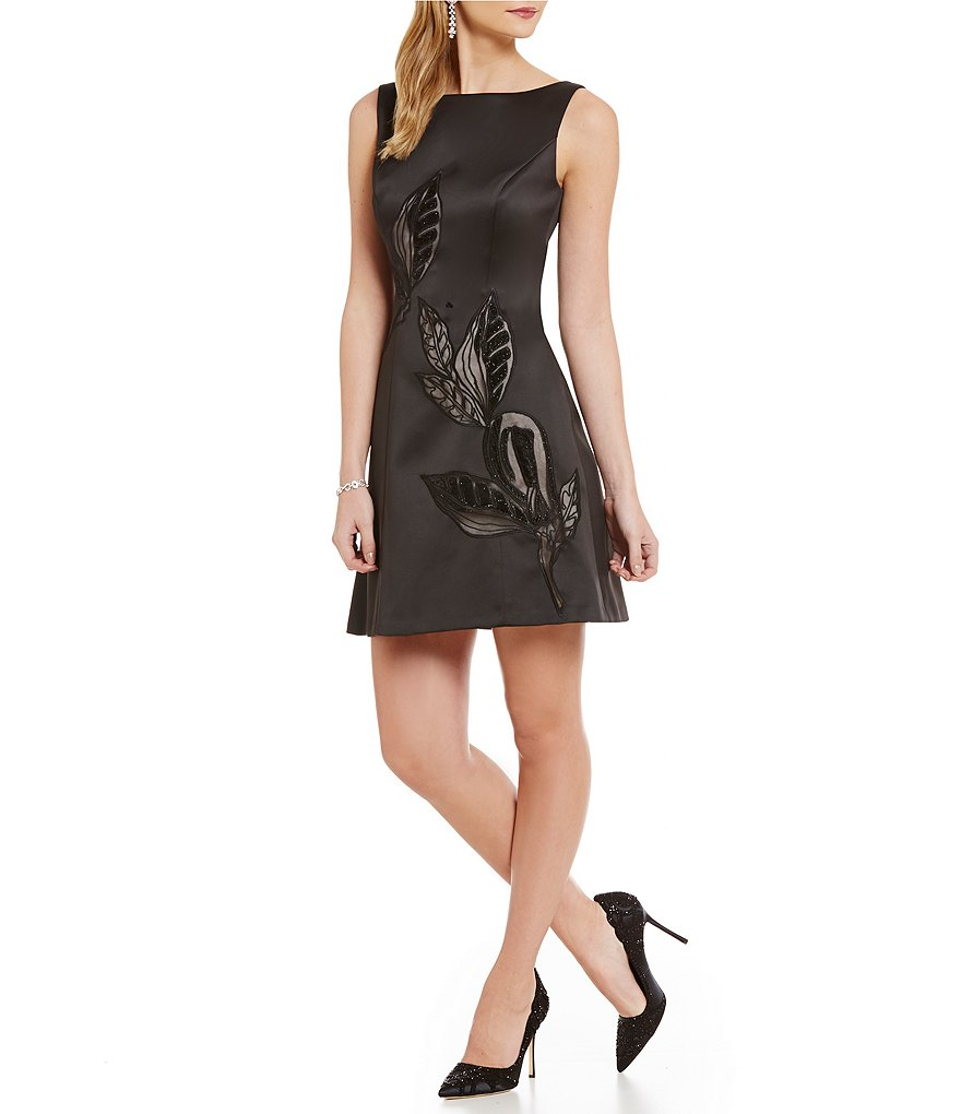 Kay Unger Illusion Sleeveless Fit-and-Flare Dress