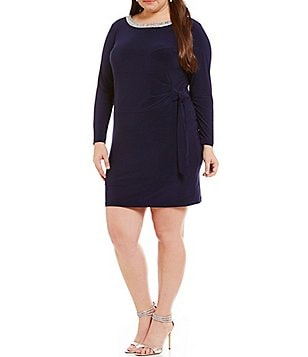 Marina Plus Beaded-Neck Long Sleeve Waist-Tie Sheath Dress