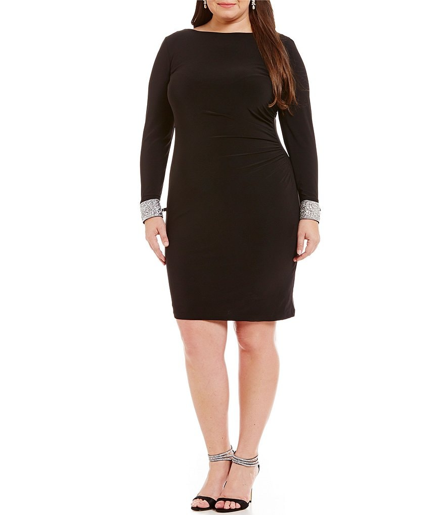 Marina Plus Cowl-Back Beaded-Trim Sheath Dress