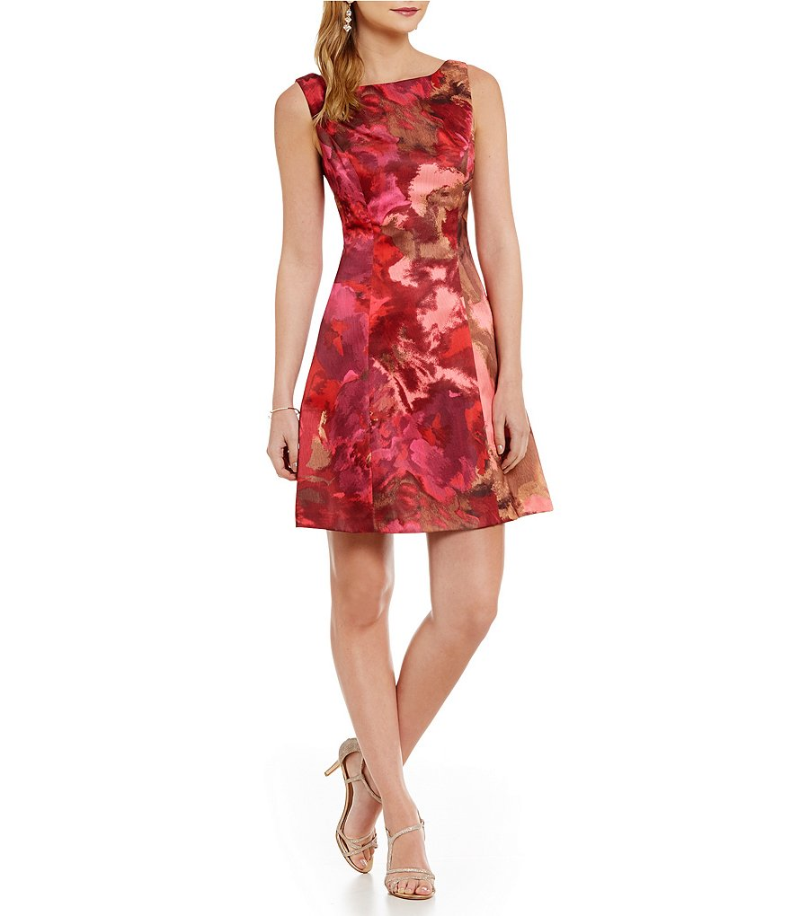 Kay Unger Floral Brocade Sheath Dress