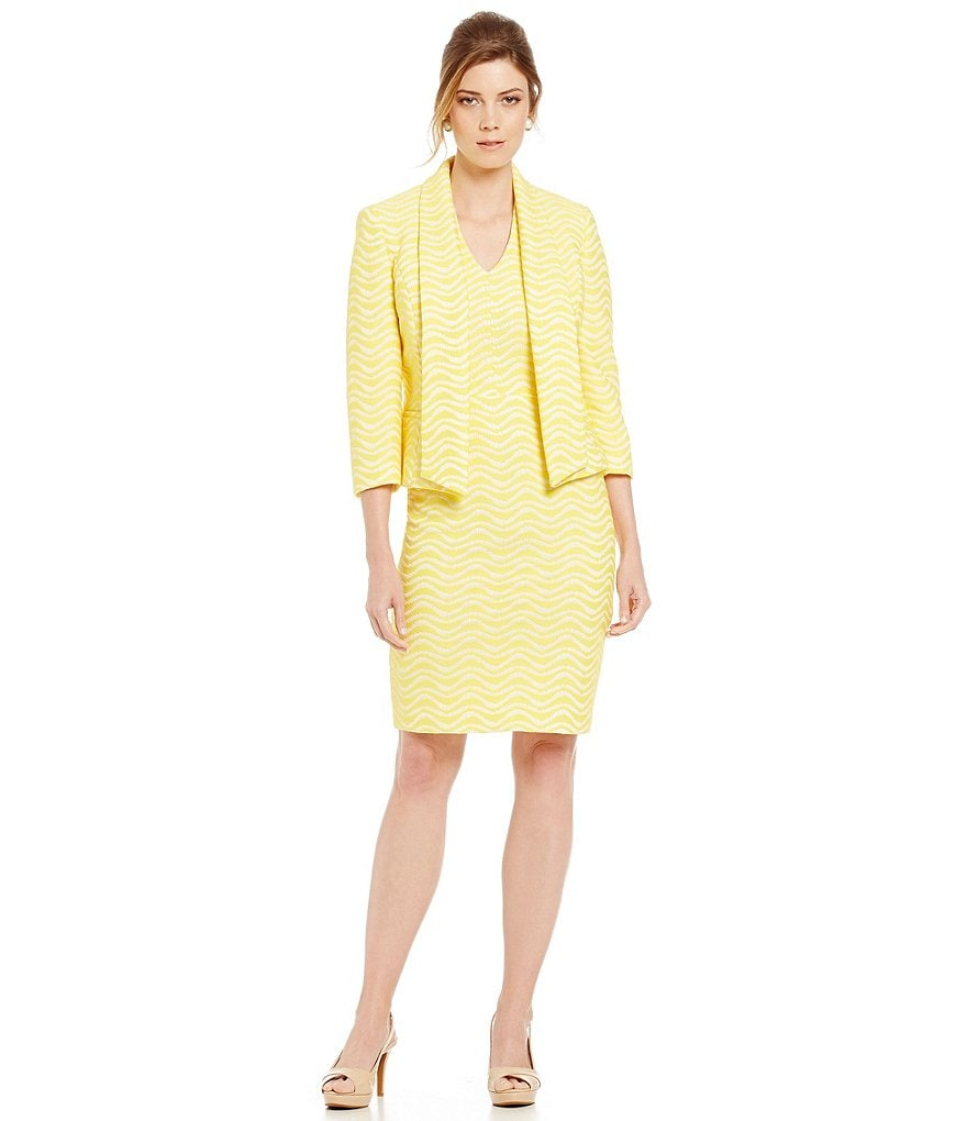 Albert Nipon Chevron Jacquard Sheath Dress Suit