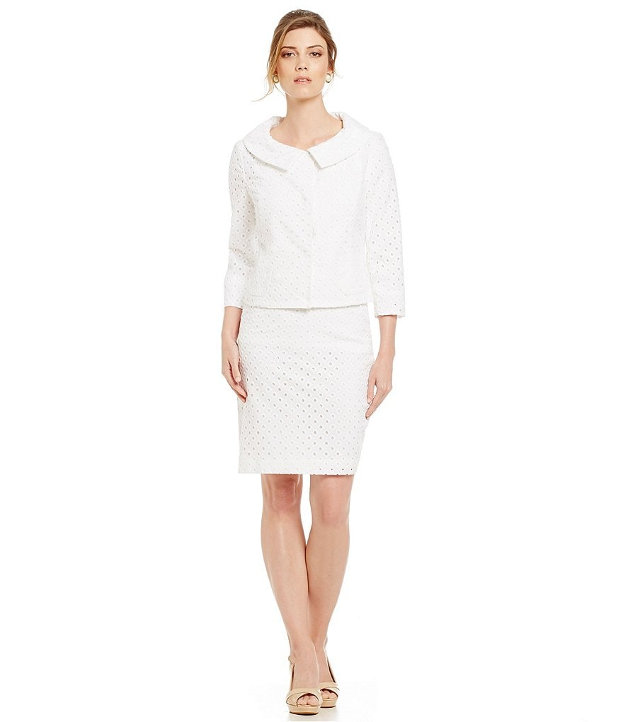 Albert Nipon Cotton Eyelet 2-Piece Skirt Suit
