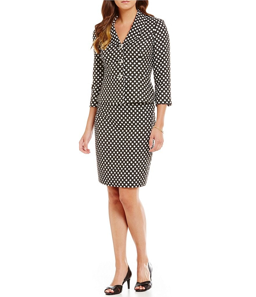 Albert Nipon Polka-Dot Skirt Suit