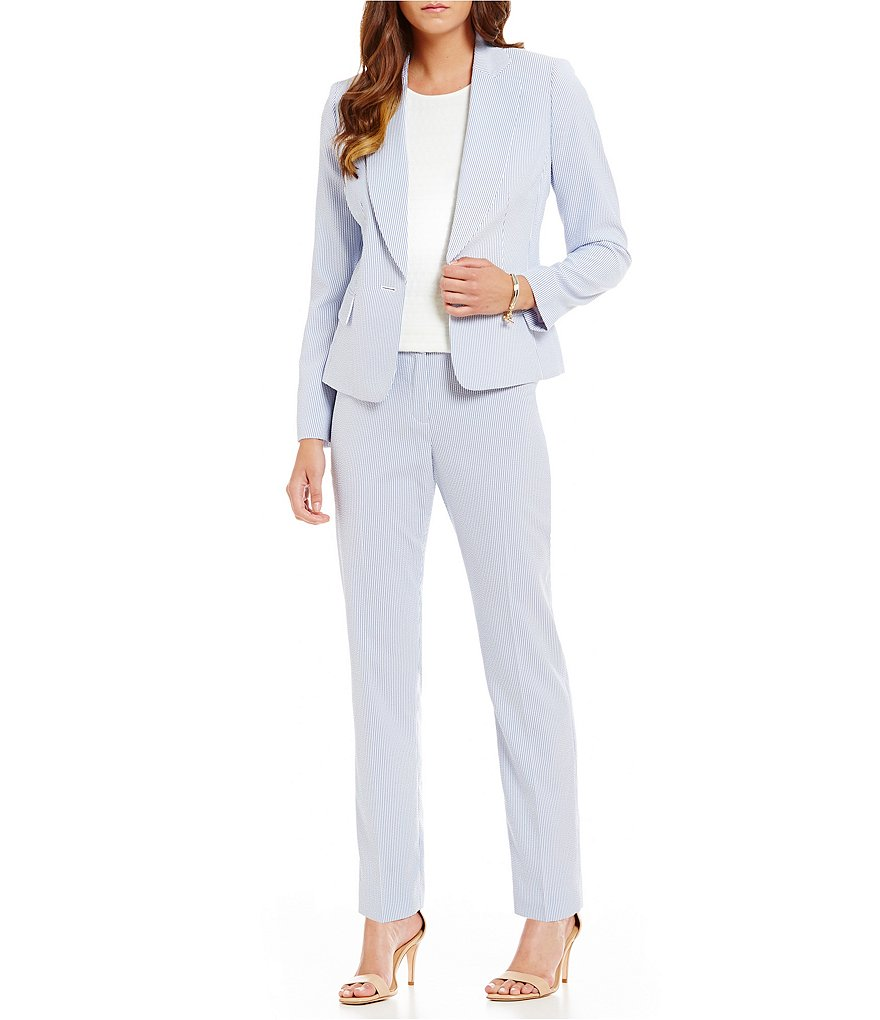 Albert Nipon Striped Seersucker Pant Suit