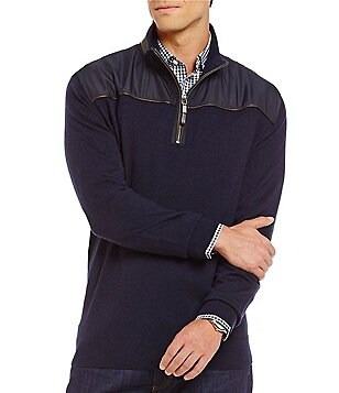 Hart Schaffner Marx Mixed Media Quarter-Zip Pullover