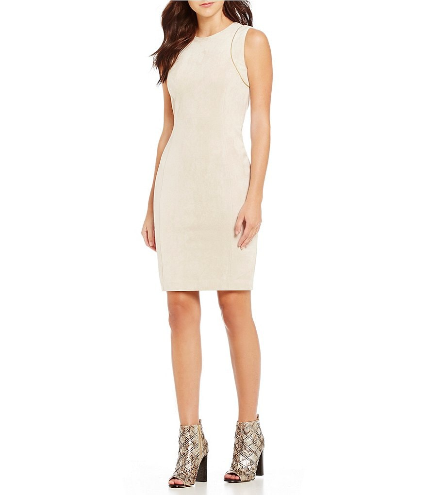Calvin Klein Zipper Trim Faux Suede Sheath Dress