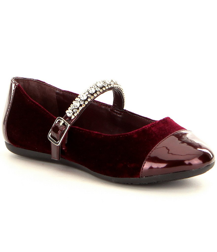 GB Girls Lavish-Girl Velvet Patent Toe Cap Embellished Strap Buckle Mary Janes