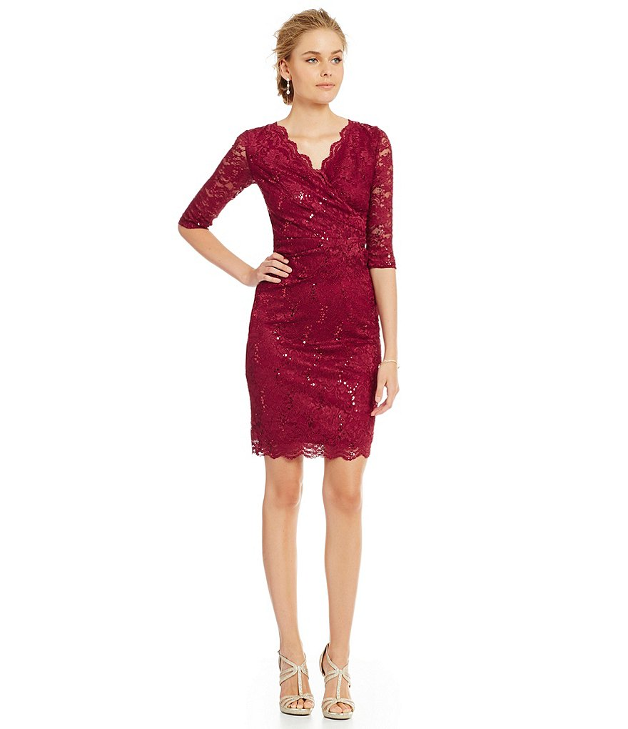 Sangria Scalloped Sequin Lace Faux Wrap Sheath Dress