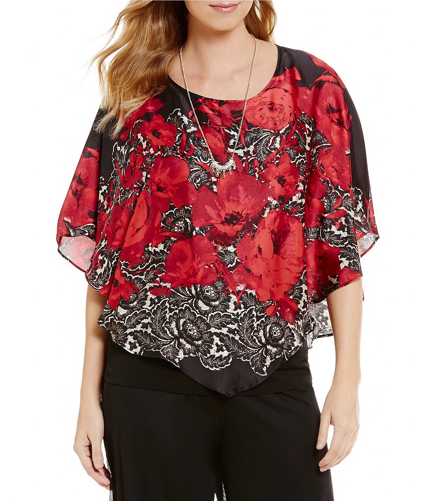 I.N. Studio Rose Lace Border Print Crew Neck Top