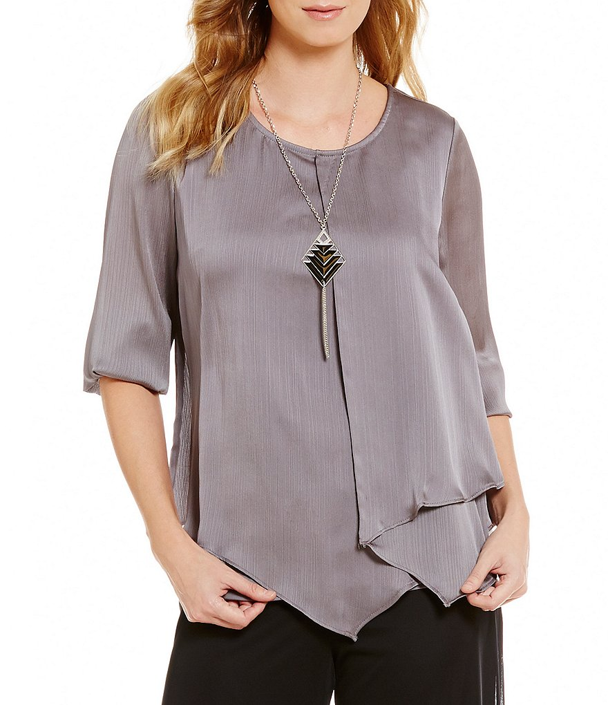 I.N. Studio Asymmetrical Hem Wrap Top