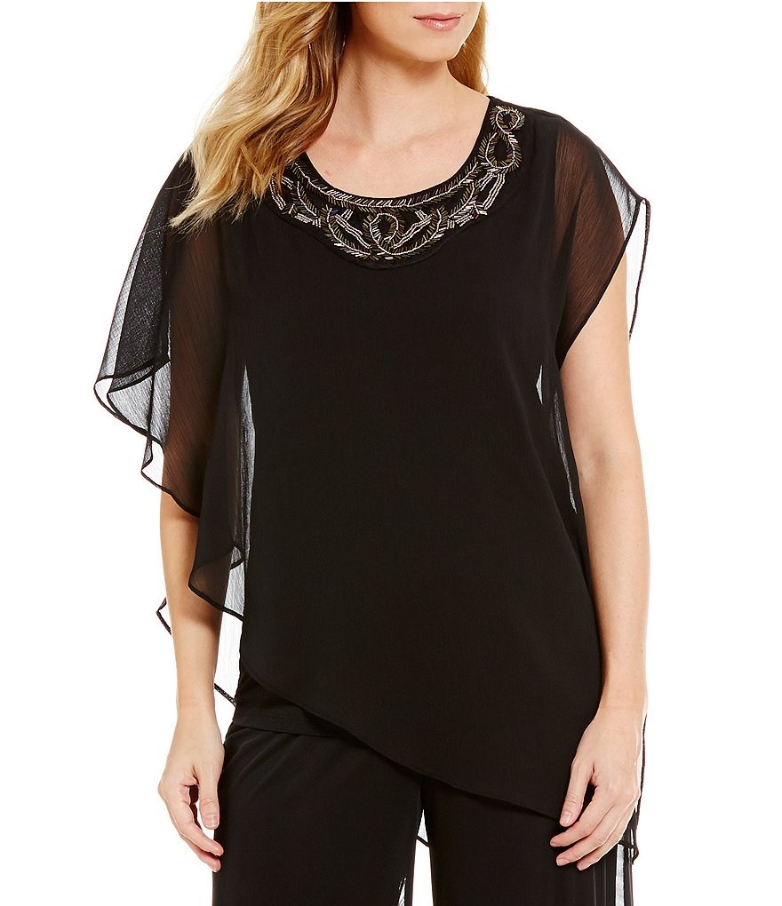 I.N. Studio Solid Yoryu Asymmetrical Hem Embellished Top