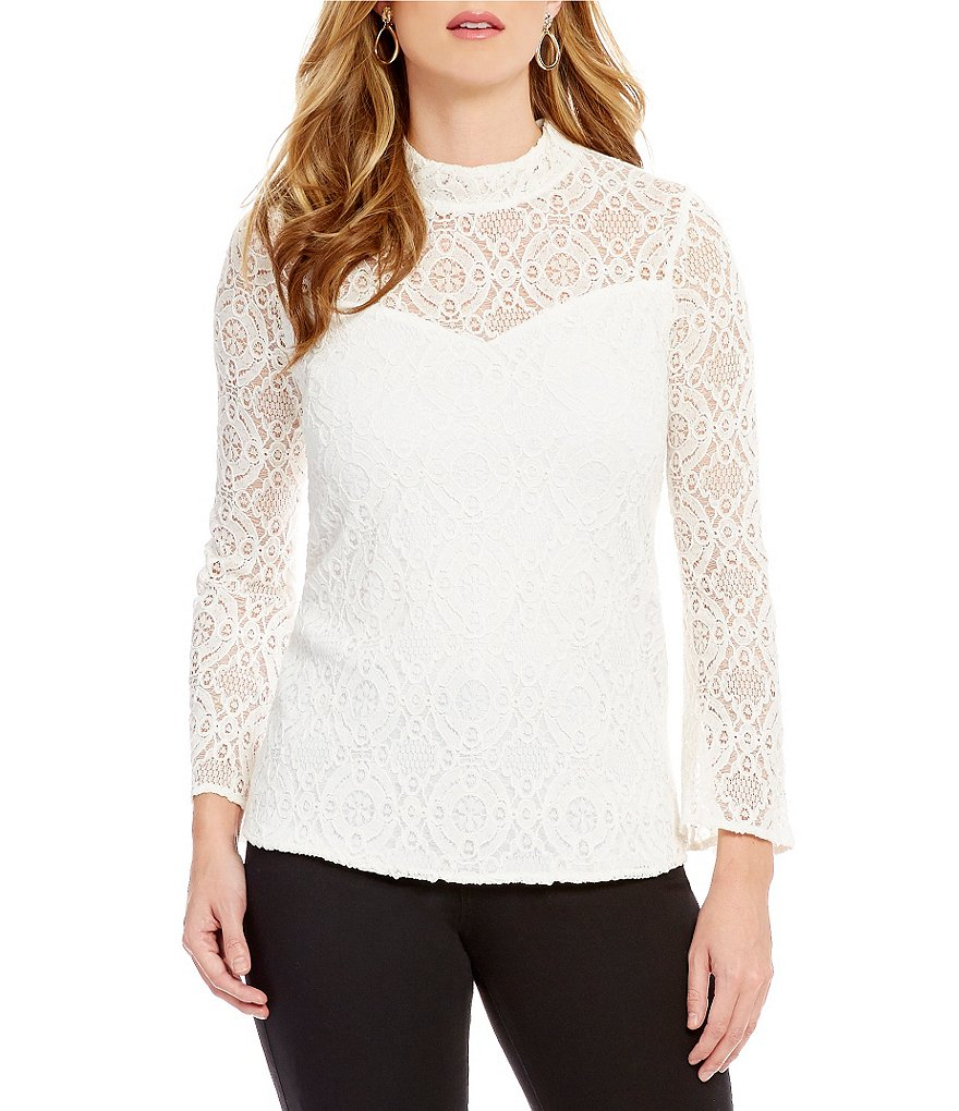 I.N. Studio All-Over Lace Mock Neck Top
