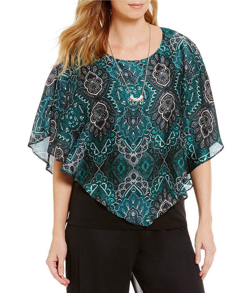 I.N. Studio Scoop Neck Short Sleeve Emerald Paisley Print Top