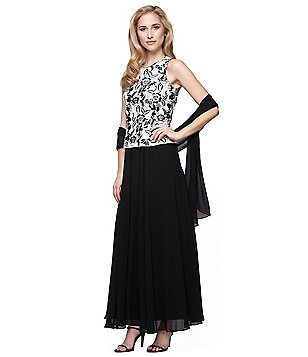 Alex Evenings Petite Embroidered Bodice Long Mock Dress