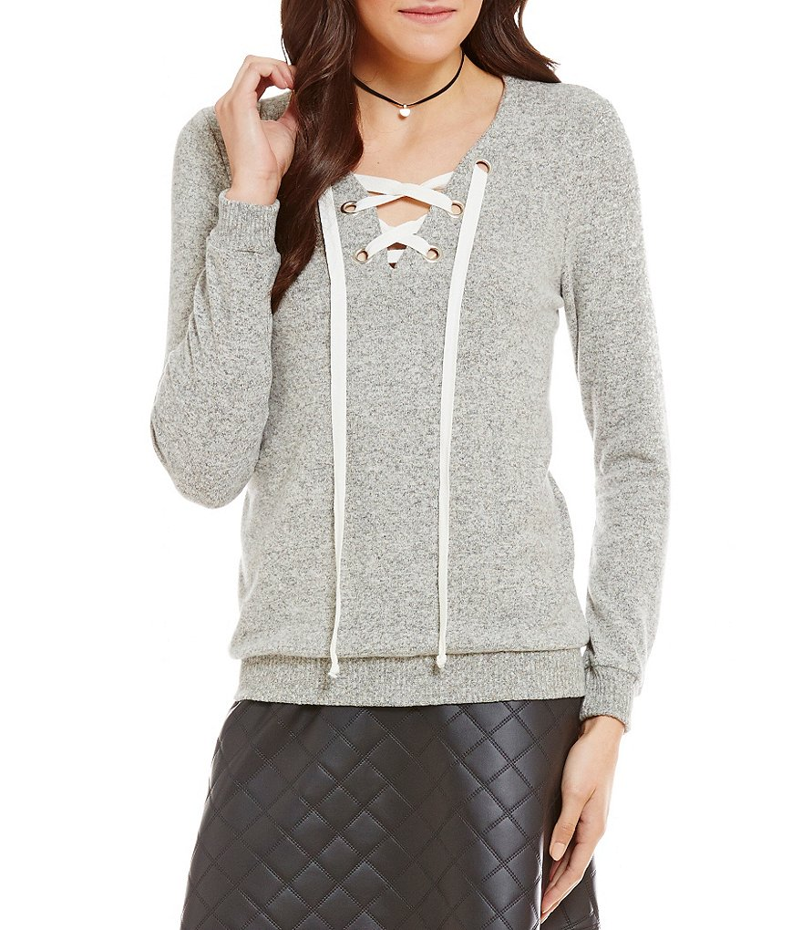 Soprano Lace-Up V-Neck Ribbed Knit Sweatshirt