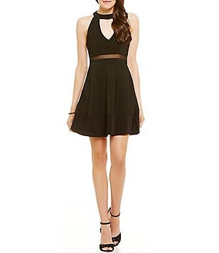 Honey and Rosie Choker Neckline Illusion-Waist A-line Dress