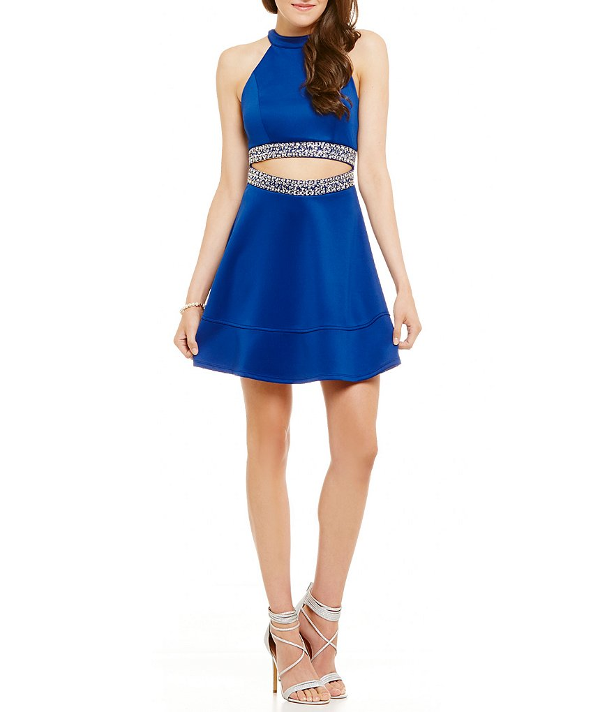 Honey and Rosie High Neck Cut-Out Beaded-Waist A-line Dress