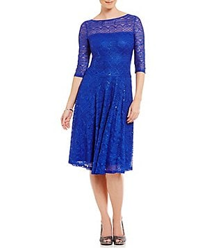 Sangria Sequin Lace Fit-and-Flare Dress