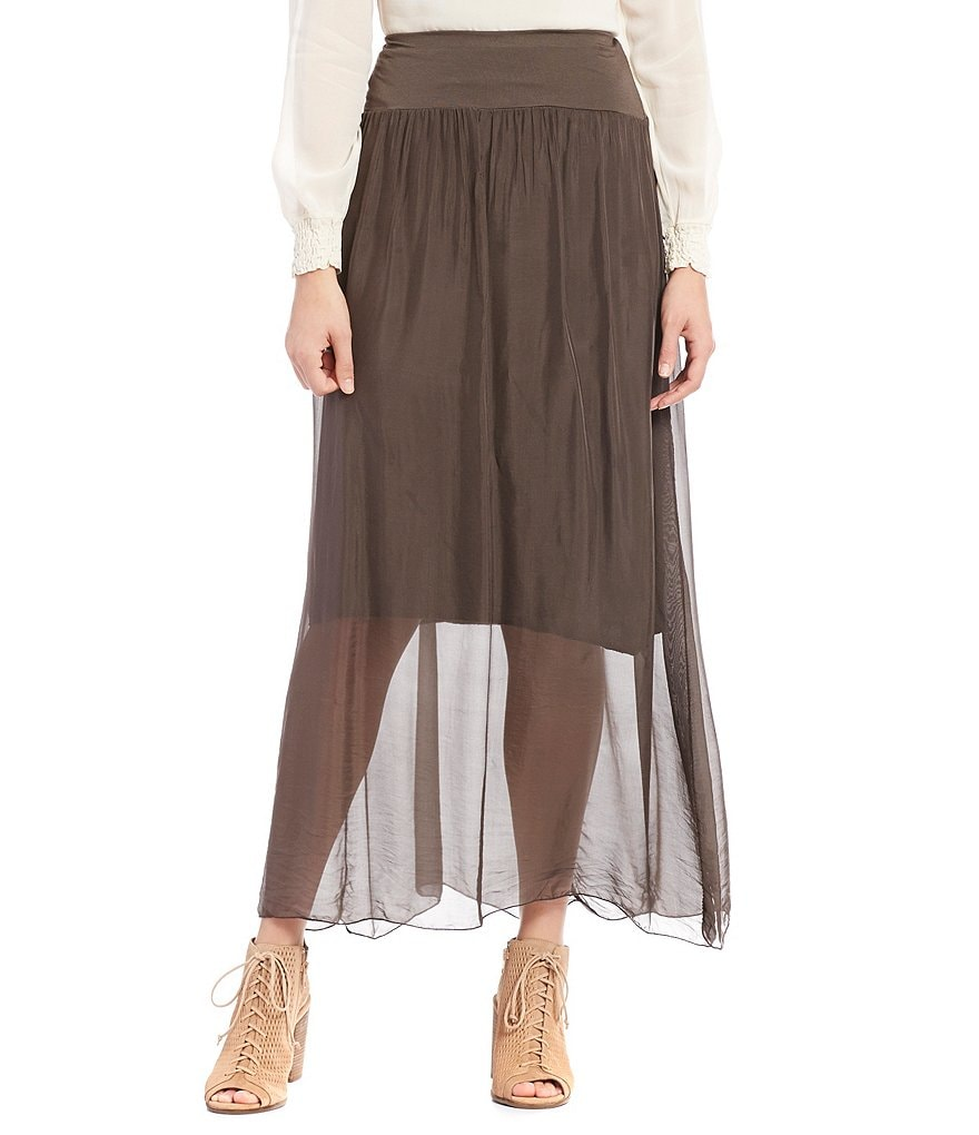 M Made In Italy Sheer Maxi Skirt