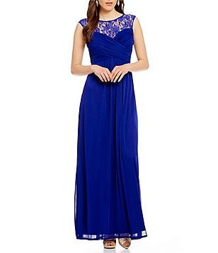 Sangria Lace Yoke Mesh Cap Sleeve Gown