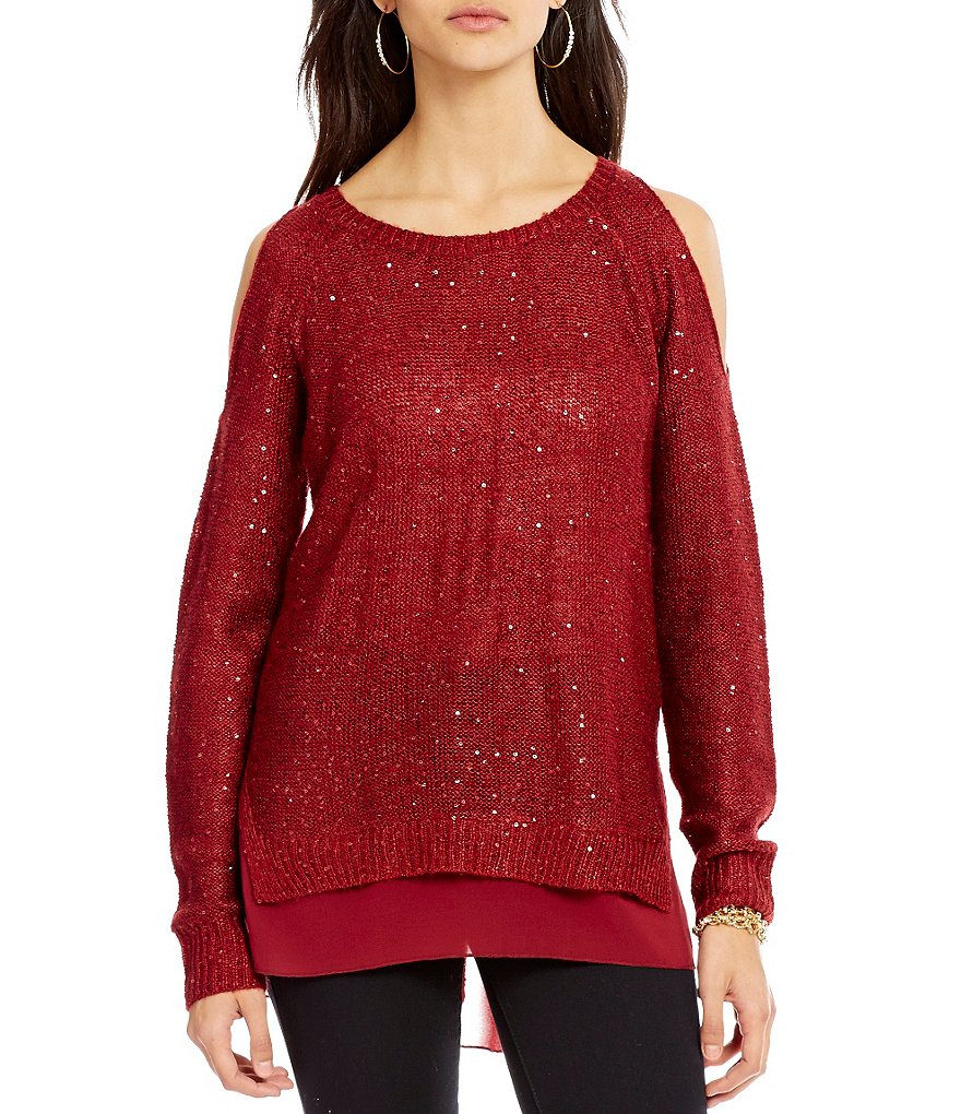 Jessica Simpson Nia Cold Shoulder Sequin High-Low Sweater