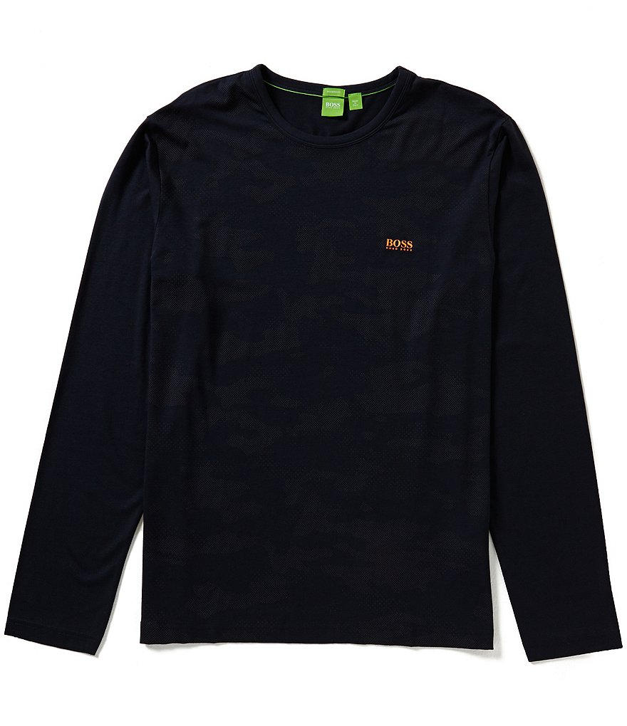 BOSS Green Camo Long-Sleeve Stretch Jersey Graphic Tee