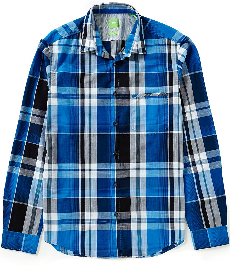 BOSS Green Bansi Checked Long-Sleeve Slub-Yarn Poplin Shirt
