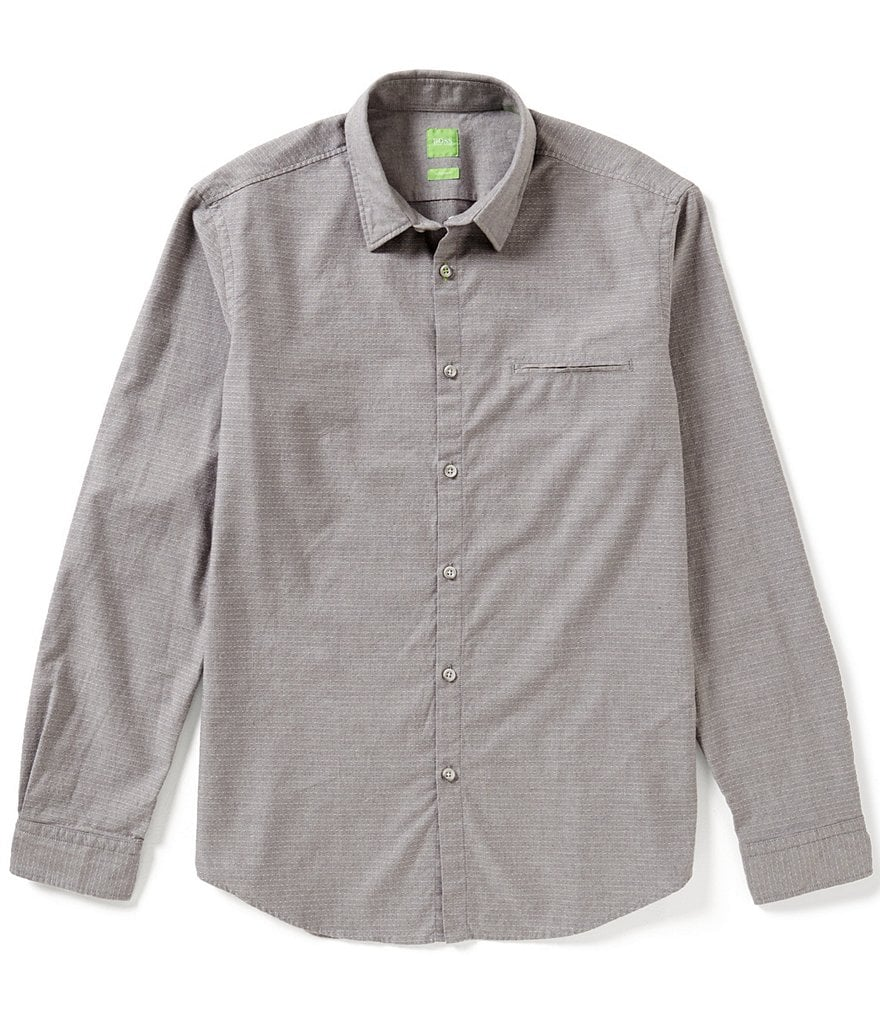 BOSS Green Bacchis Dobby Long-Sleeve Casual Twill-Flannel Woven Shirt