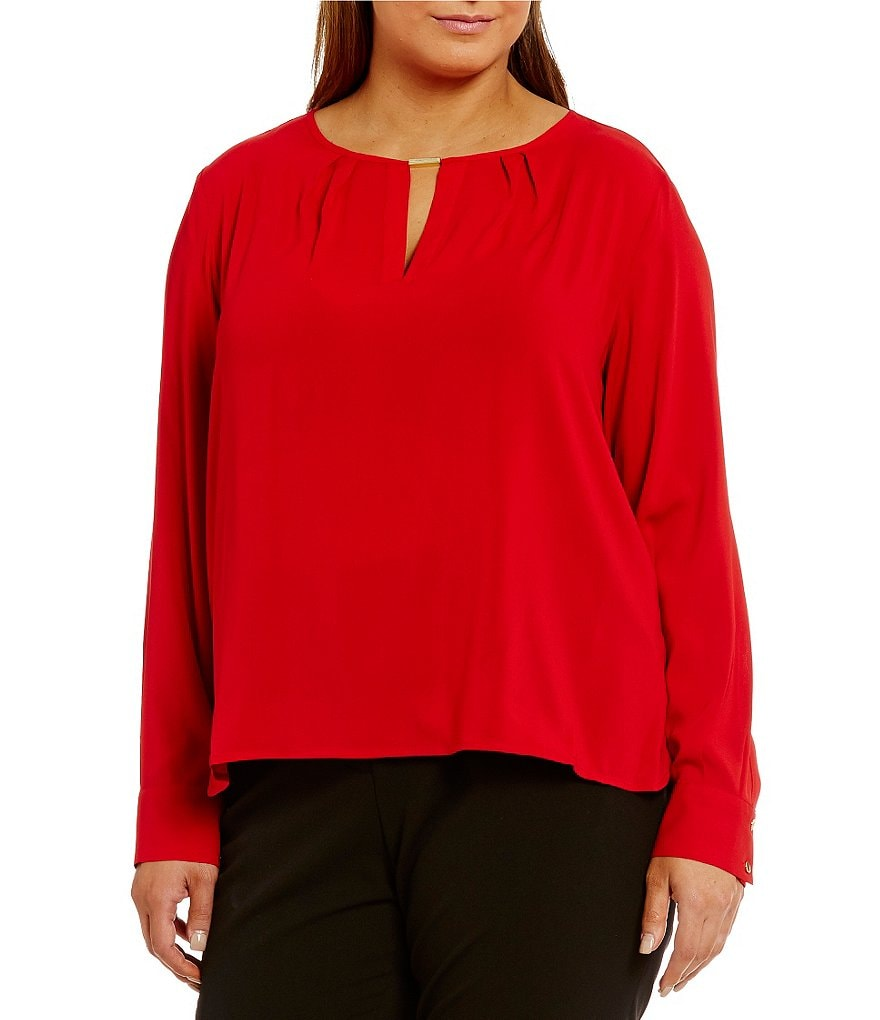 Calvin Klein Plus Scoop Neck Long Sleeve Keyhole Blouse