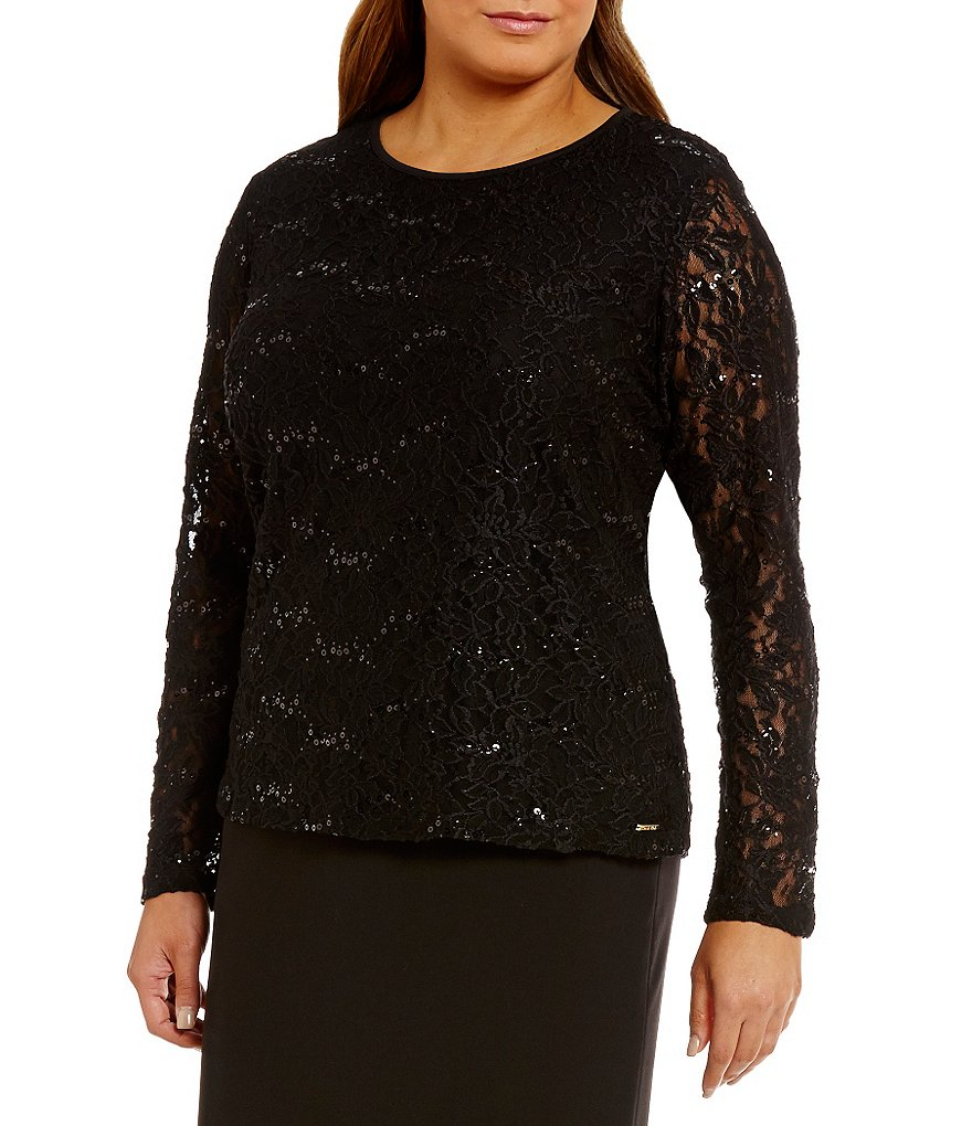 Calvin Klein Plus Long Sleeve Sequined Lace Top
