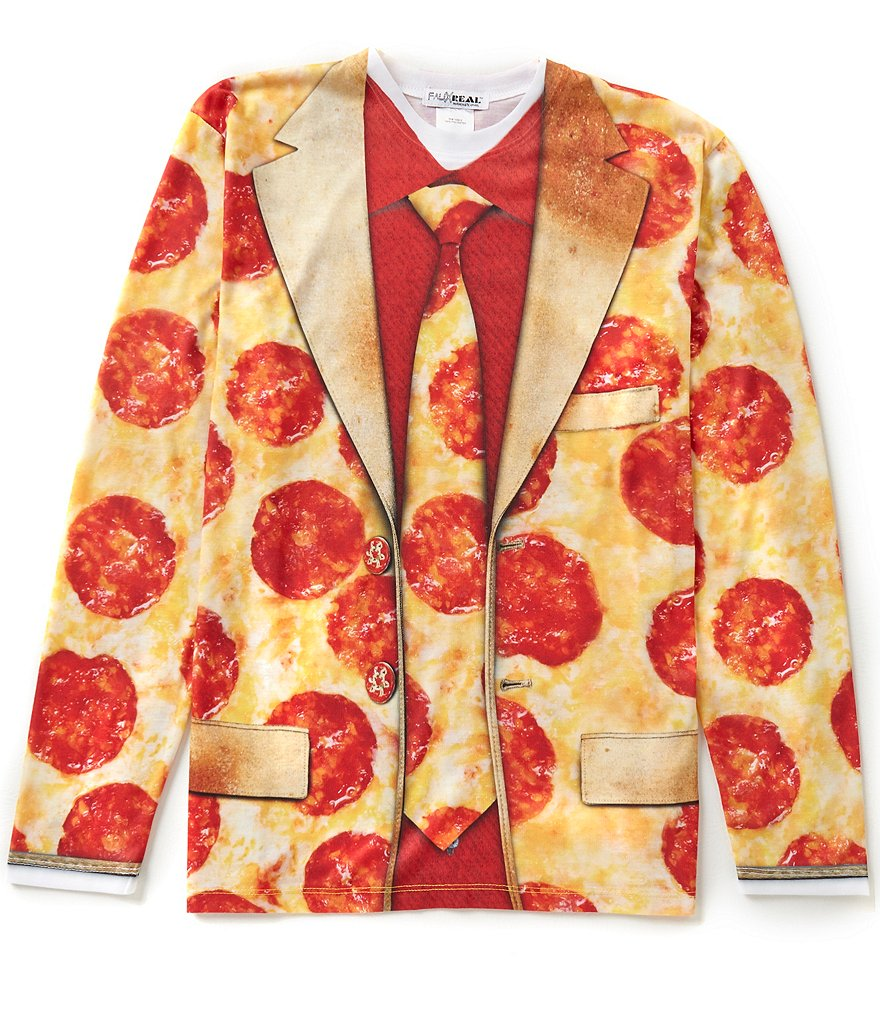 Faux Real Pizza Suit Long Sleeve Graphic Tee
