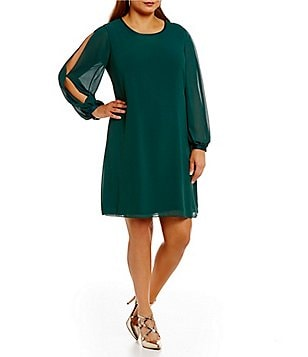 Vince Camuto Plus Split Sleeve Crew Neck Float Dress