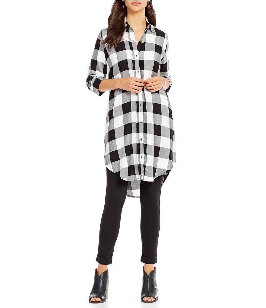 Westbound Long Sleeve Plaid Tunic Top