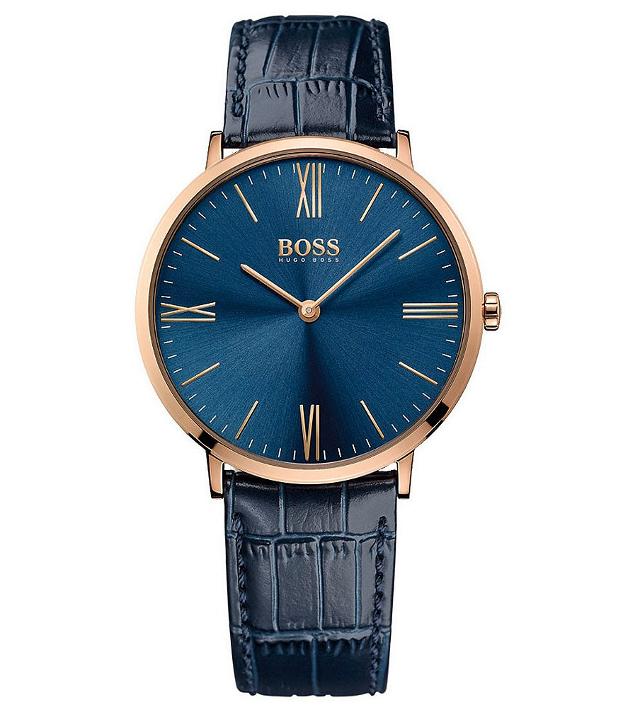 BOSS Jackson Analog Embossed Leather-Strap Watch