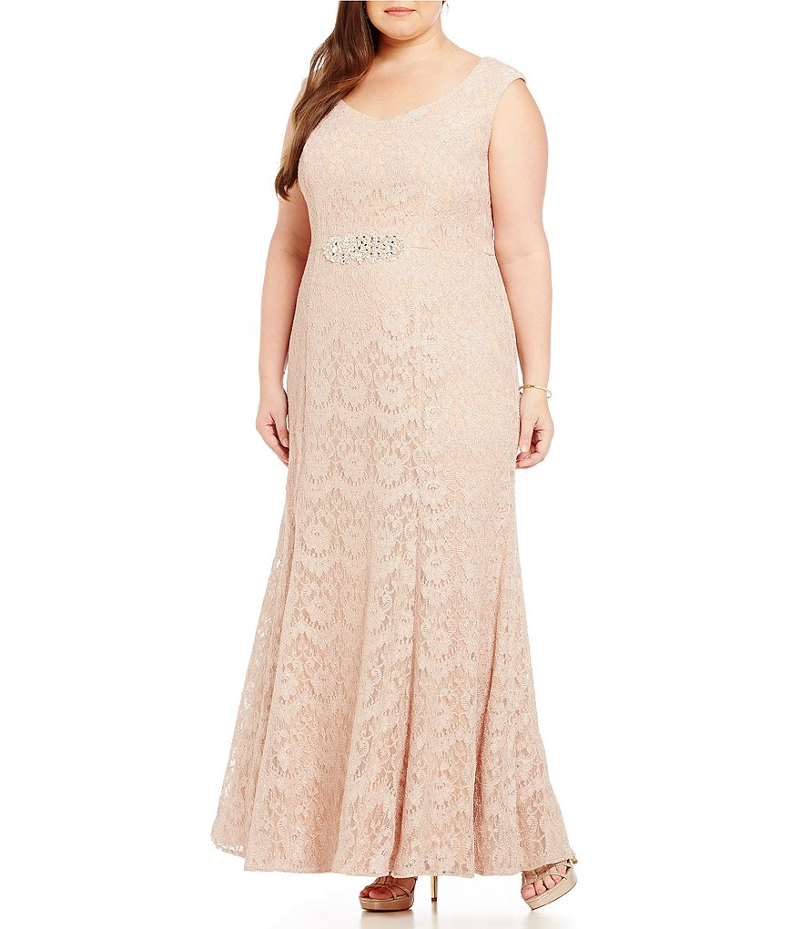 Alex Evenings Plus Long V-Neck Lace Dress