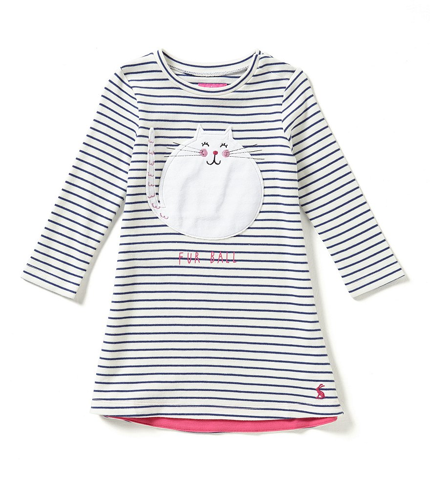 Joules Kaye Baby Girls 12 Months-3T Fur Ball Cat-Appliquéd Striped A-Line Dress