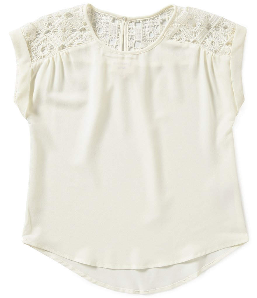 Blu Pepper Big Girls 7-16 Woven Yoke Top