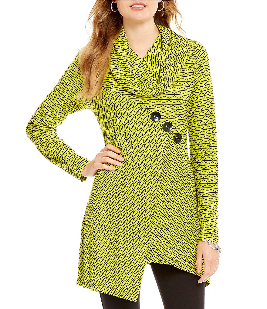 Ali Miles Cowl Neck Textured Knit Solid Tunic