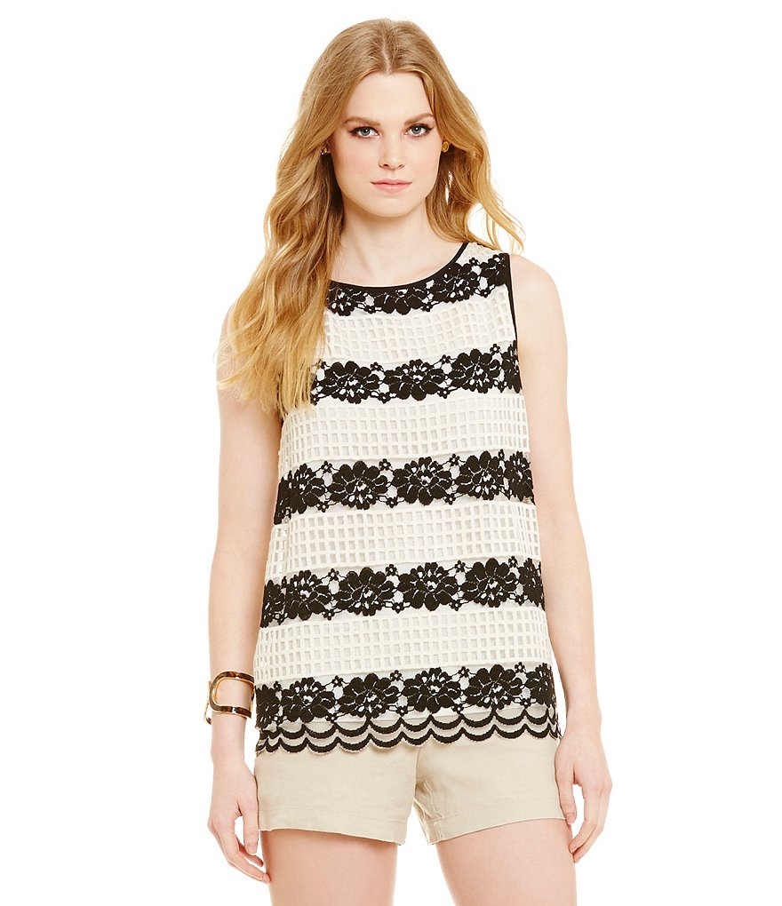 M.S.S.P. Stripe Floral Sleeveless Lace Top