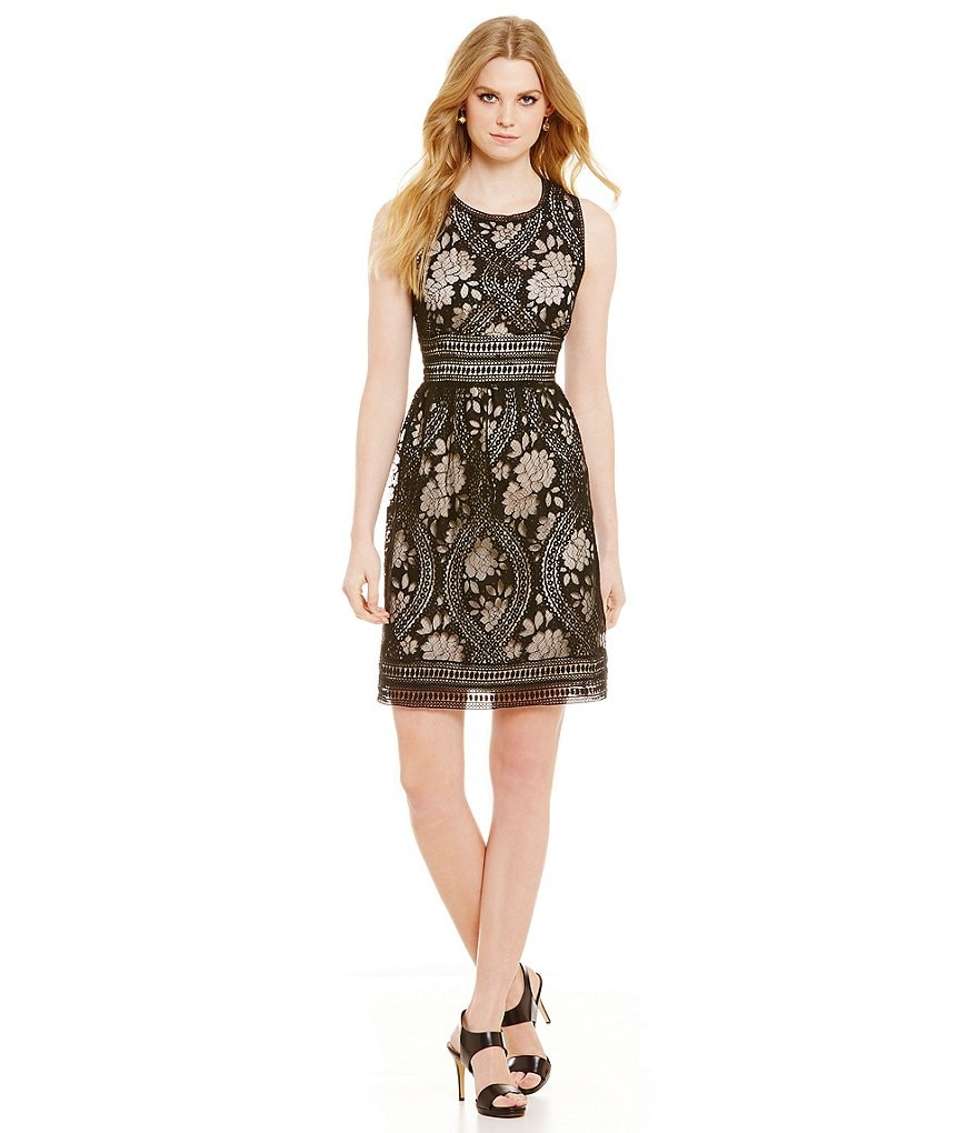 M.S.S.P. Textured Lace Sleeveless Round Neck Dress