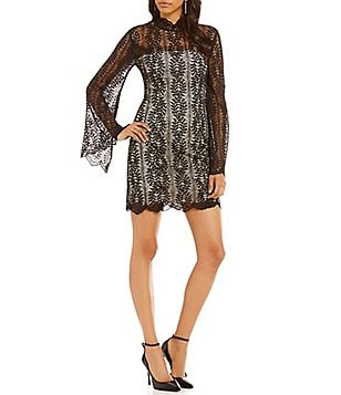 Keepsake Uptown Long Bell Sleeve Lace Mini Dress