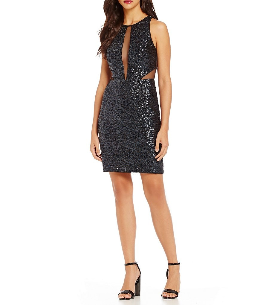 Aidan Aidan Mattox Sequin Cutout Sleeveless Cocktail Dress