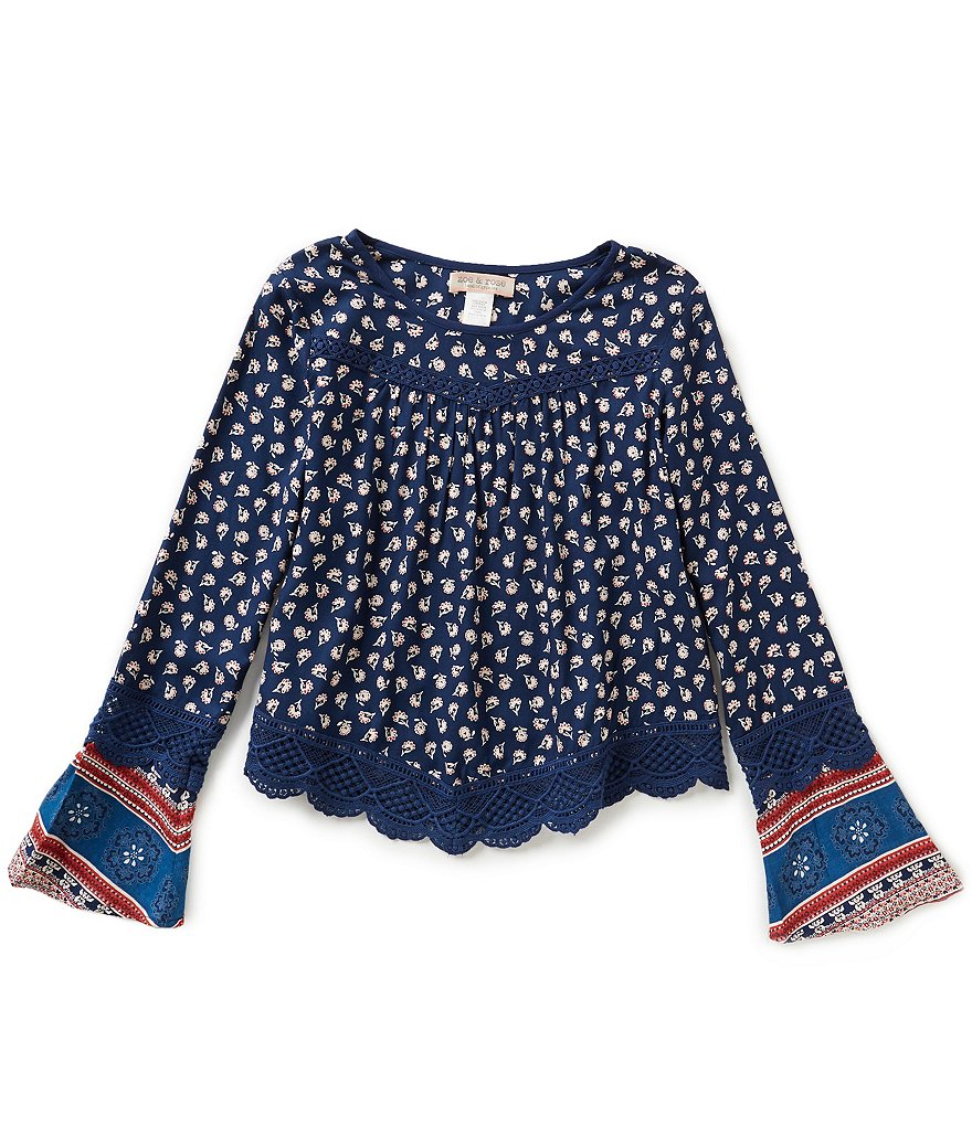 Zoe & Rose By Band Of Gypsies Big Girls 7-16 Border-Print Top