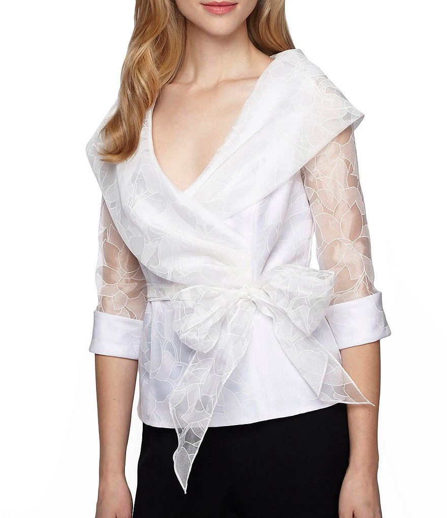 Alex Evenings Petite Illusion Sleeve Portrait Collar Blouse