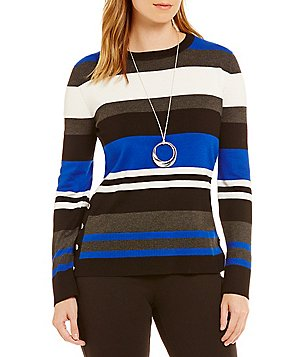 Investments Petite Crew Neck Striped Sweater